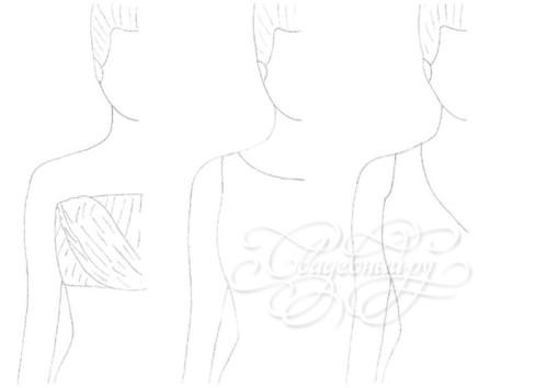 слева направо: с драппировкой, под шею, V-образный вырез