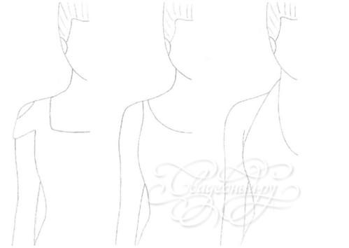 слева направо: квадратный, круглый вырез, бретелька через шею