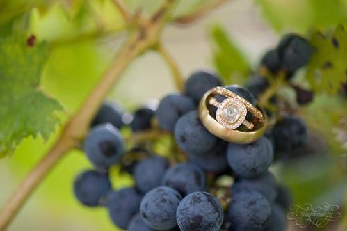Ягоды винограда подчеркнут сияние колец