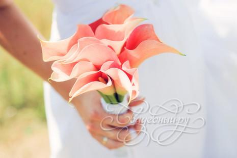 Свадебный букет персикового цвета